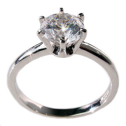1.25c Russian CZ Engagement Ring 925 Sterling Silver 6