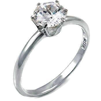 1.25c Russian CZ Engagement Ring 925 Sterling Silver 7