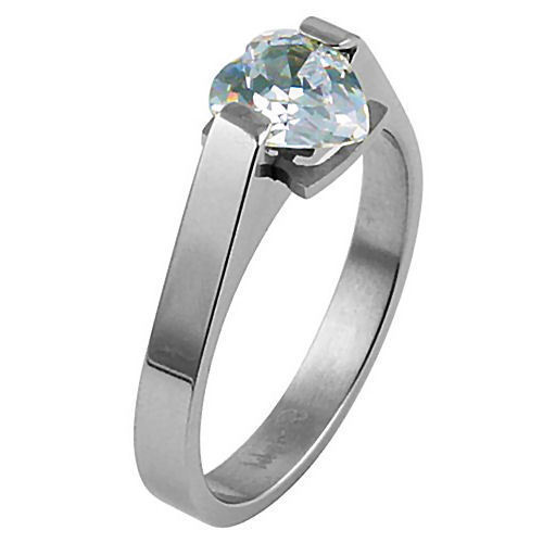 1.25ct Heart Cut Russian Ice CZ Stainless Steel Promise Friendship Ring size 5