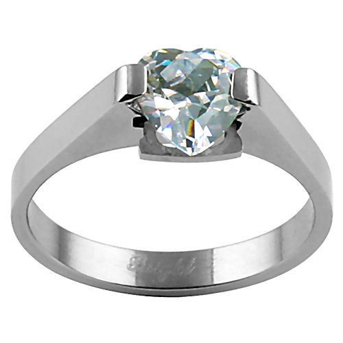 1.25ct Heart Cut Russian Ice CZ Stainless Steel Promise Friendship Ring size 8