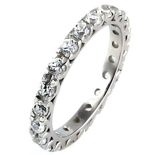 1.26ct Russian Ice CZ Stackable Eternity Band Ring s 8
