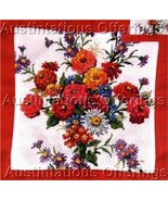 Hard to Find Summer Zinnia Floral Cross Stitch Pillow Kit - $32.00