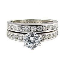 1.4c Russian Ice CZ Semi-Eternity Wedding Ring Set s 6 - $68.00