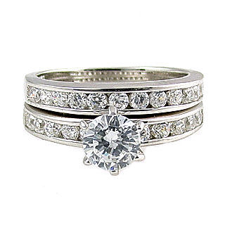 1.4c Russian Ice CZ Semi-Eternity Wedding Ring Set s 7