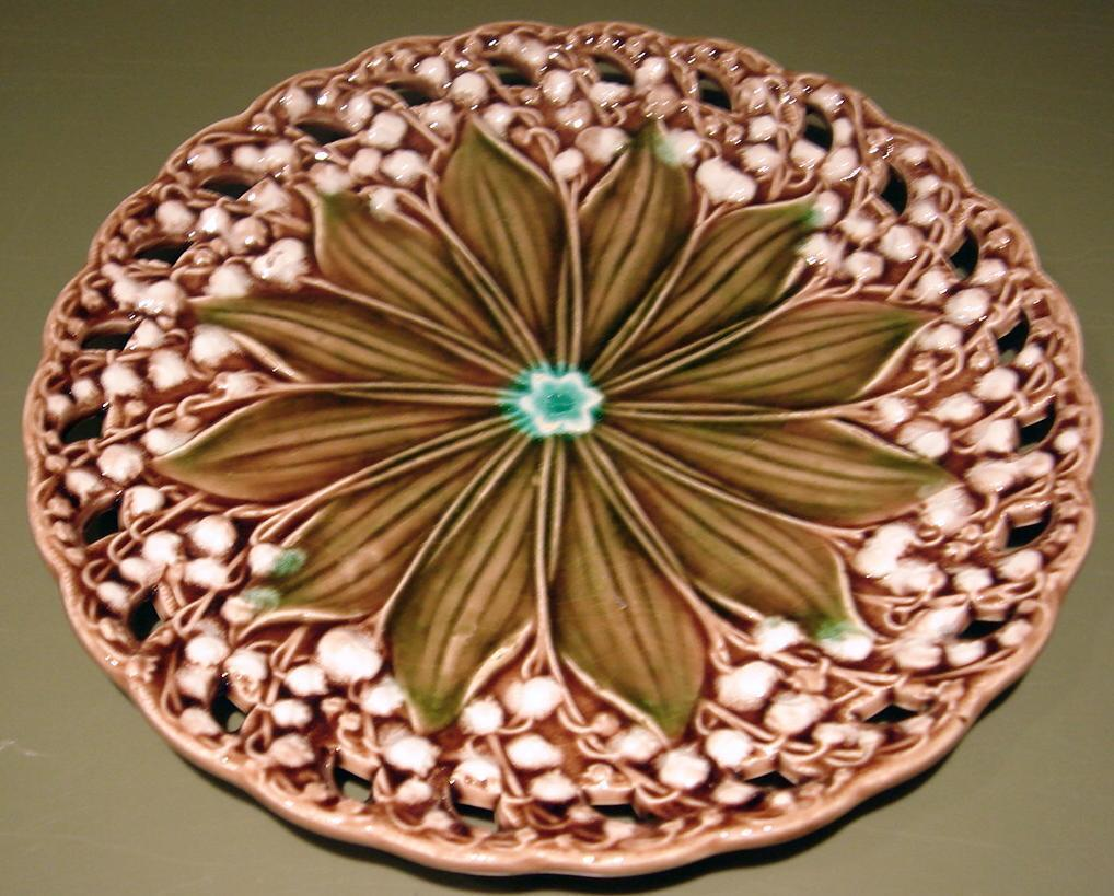 Majolica plate lily of the valley