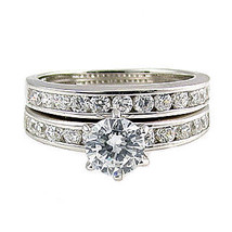 1.4c Russian Ice CZ Semi-Eternity Wedding Ring Set s 9 - $68.00