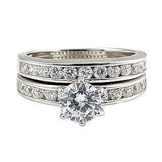 1.4c Russian Ice CZ Semi-Eternity Wedding Ring Set s 9