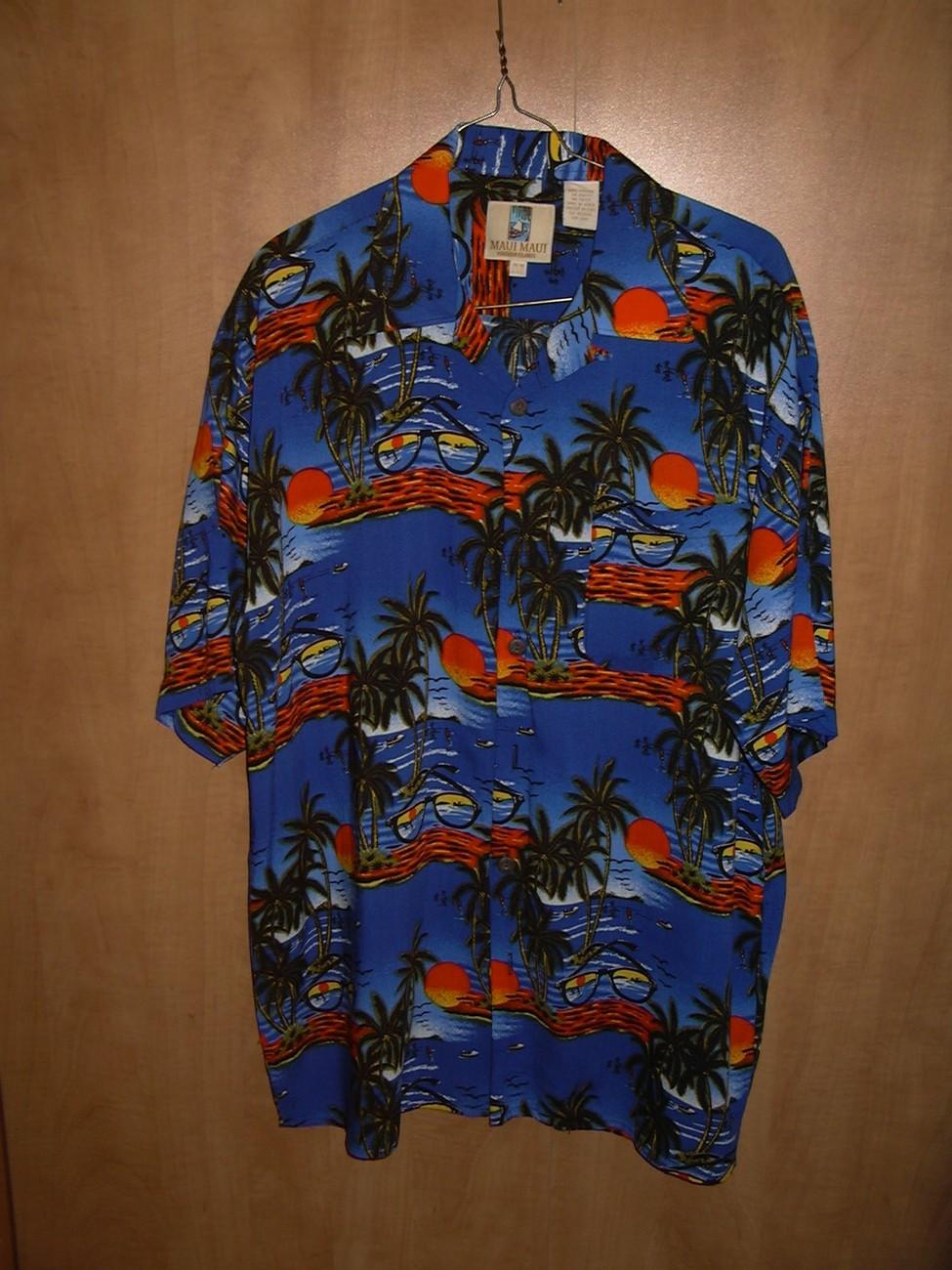 HH7 Maui Maui Hawaiian Tropical Shirt Blue Sunglasses Sunsets Palms Size 40 M