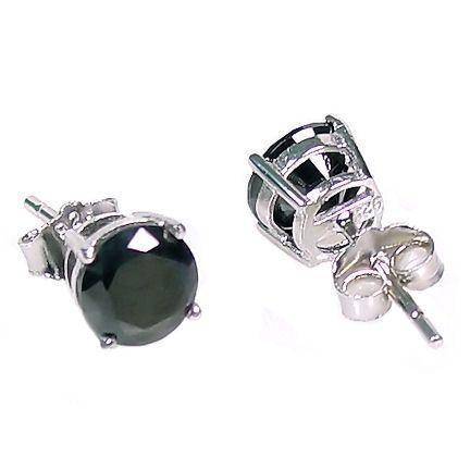 2.0ct, 6.5mm  Black Ice CZ BASKET Set Earrings 925 Silver