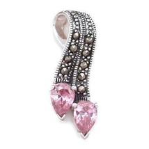 1.5ct Pink Sapphire & Marcasite Ribbon Slide Pendant - $30.00