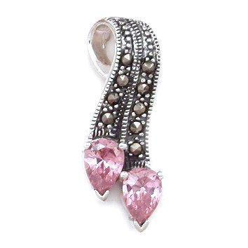 1.5ct Pink Sapphire & Marcasite Ribbon Slide Pendant