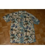HH16 Hawaiian Bill Blass Shirt Blue White Tropical Palm Trees size L 44 ... - $11.00