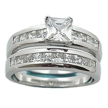 1.6c Princess Cut Russian Ice CZ Wedding Ring Set sz 6 - $63.00