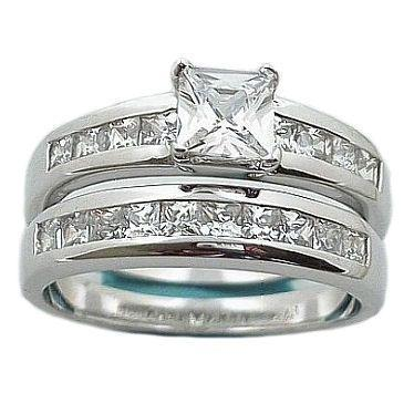 1.6c Princess Cut Russian Ice CZ Wedding Ring Set sz 8