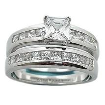 1.6c Princess Cut Russian Ice CZ Wedding Ring Set sz 9 - $58.00