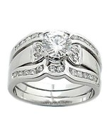 1.7 cts 2 Tone Platinum Finish CZ Wedding Ring Set s 6 - $68.00