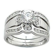 1.7 cts 2 Tone Platinum Finish CZ Wedding Ring Set s 7 - $68.00