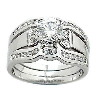 1.7 cts 2 Tone Platinum Finish CZ Wedding Ring Set s 8