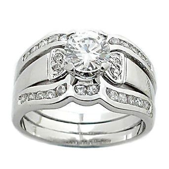 1.7 cts 2 Tone Platinum Finish CZ Wedding Ring Set s 9