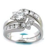 1.7c Russian Ice CZ Wrap Around Wedding Ring Set s 9 - $72.00