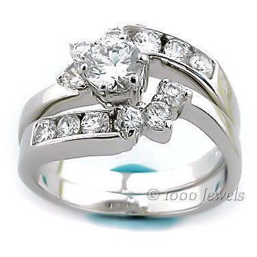 1.7c Russian Ice CZ Wrap Around Wedding Ring Set sz 10