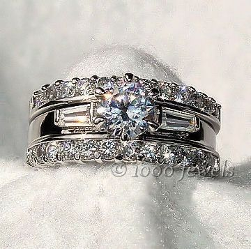 1.9 cts Russian Ice CZ 3 Piece Wedding Ring Set sz 6