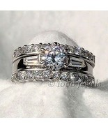 1.9 cts Russian Ice CZ 3 Piece Wedding Ring Set sz 6 - $69.00
