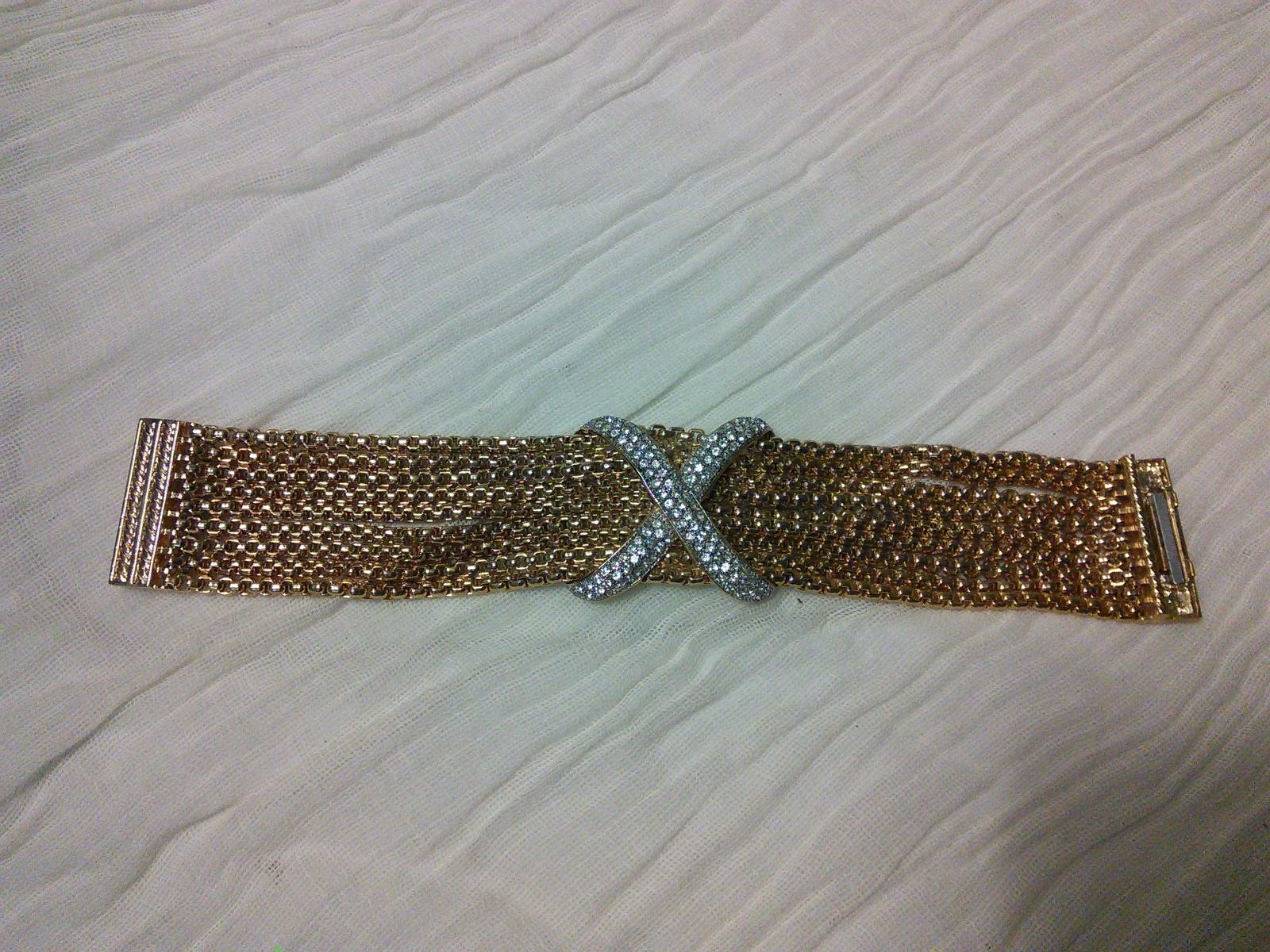 Vintage Gold Plated Diamond Simulated X Bracelet