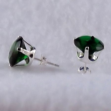 10mm, 8.0ct created Emerald Stud Earrings 925 Silver