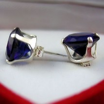 10mm Ceylon Sapphire created Stud Earrings 925 SS 8.0ct - $16.00