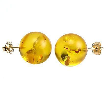 10mm Honey Amber Ball Stud Post Earrings 14K Gold