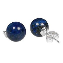 10mm Lapis Lazuli Ball Stud Earrings Sterling Silver - $38.00