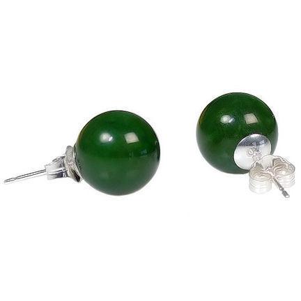 10mm Nephrite Green Jade Ball Stud Post Earrings Solid 925 Sterling Silver