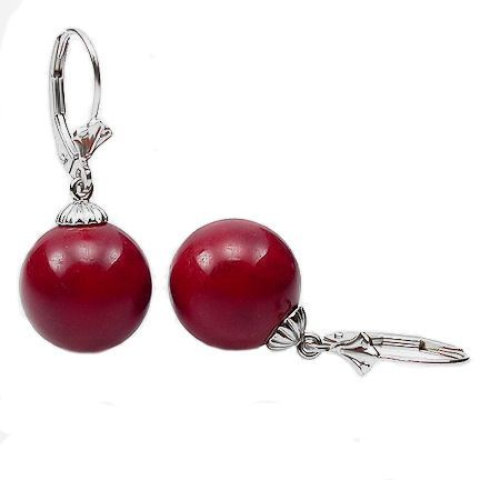 10mm Red Coral Ball Leverback Earrings 14K White Gold