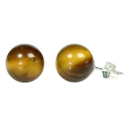 10mm Tigers Eye Ball Stud Earrings 925 Sterling Silver