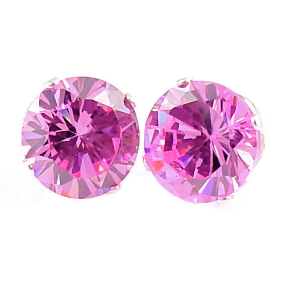 10mm created Pink Sapphire Stud Earrings 925 SS 8.0ct