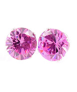 10mm created Pink Sapphire Stud Earrings 925 SS 8.0ct - $15.00