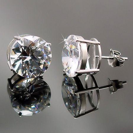 12.5ct, 12mm Russian Ice CZ BASKET Set Earrings 925 SS