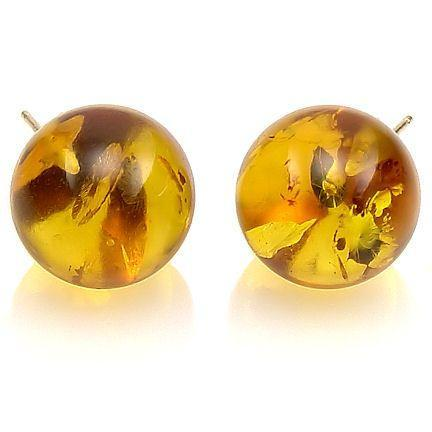 12mm Honey Amber Ball Stud Post Earrings 14K Gold
