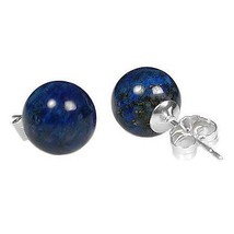 12mm Lapis Lazuli Ball Stud Earrings Sterling Silver - $53.00