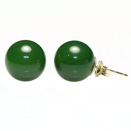 12mm Nephrite Green Jade Ball Stud Earrings 14K Gold