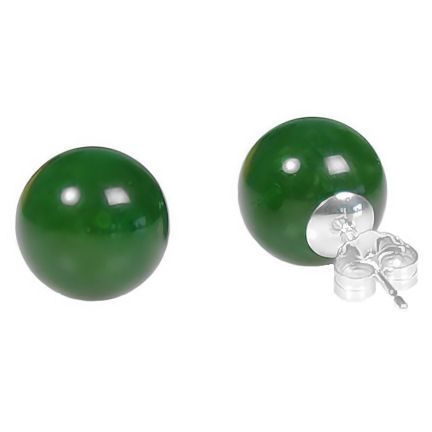 12mm Nephrite Green Jade Ball Stud Earrings 14K White