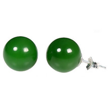 12mm Nephrite Green Jade Ball Stud Post Earrings Solid 925 Sterling Silver - $35.00