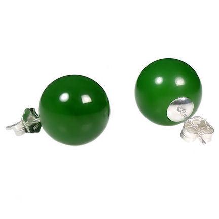 12mm Nephrite Green Jade Ball Stud Post Earrings Solid 925 Sterling Silver
