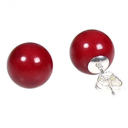 12mm Red Coral Ball Stud Post Earrings 925 Silver