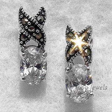 2.0c Russian CZ & Marcasite Hugs-n-Kisses Post Earrings