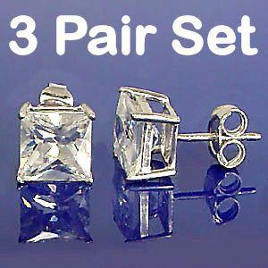 2.25ct 3 Pair Set of 4mm Russian CZ BASKET Set Earrings