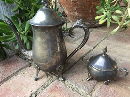 VINTAGE SILVER PLATED MATCHING TEAPOT AND Sugar... - $54.99