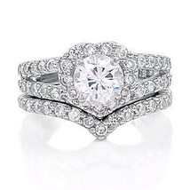 2.44ct Heart-Shaped Russian Ice CZ Wedding Ring Set s 6 - $66.00