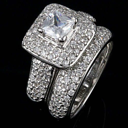2.55ct Micro-pave Russian Ice CZ Wedding Ring Set s 9